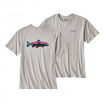 Patagonia M Fitz Roy Trout Cotton T-Shirt Tailored Grey