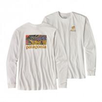 Patagonia M L/S Eye Of Brown World Trout Cotton T-Shirt White