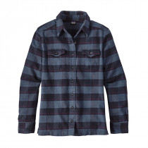 Patagonia W L/S Fjord Flannel Shirt Boxwood Plaid: Navy Blue