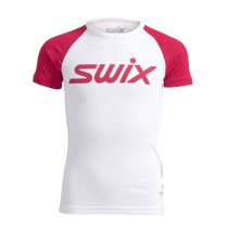 Swix Racex Bodyw SS Juniors Bright White/Bright Fuchsia