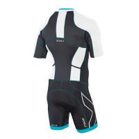 2XU Comp Full Zip S/S Trisuit-M White/Capri Blue