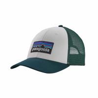 Patagonia P-6 Logo Lopro Trucker Hat White W/Piki Green
