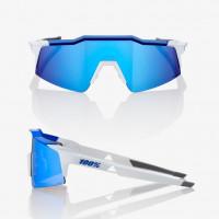 100% Speedcraft Sl Matte White/Metallic Blue - Hiper Blue Multilayer Mirror Lens