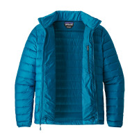 Patagonia M Down Sweater Big Sur Blue W/Fire Red