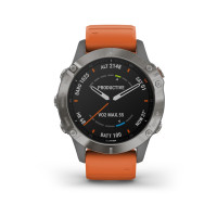 Garmin Fenix 6 Sapphire Ti Gray W/Orange Band