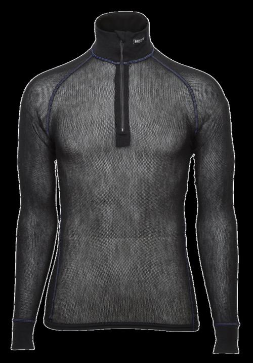 Brynje Wool Thermo Light Zip-polo 3/4 neck Black