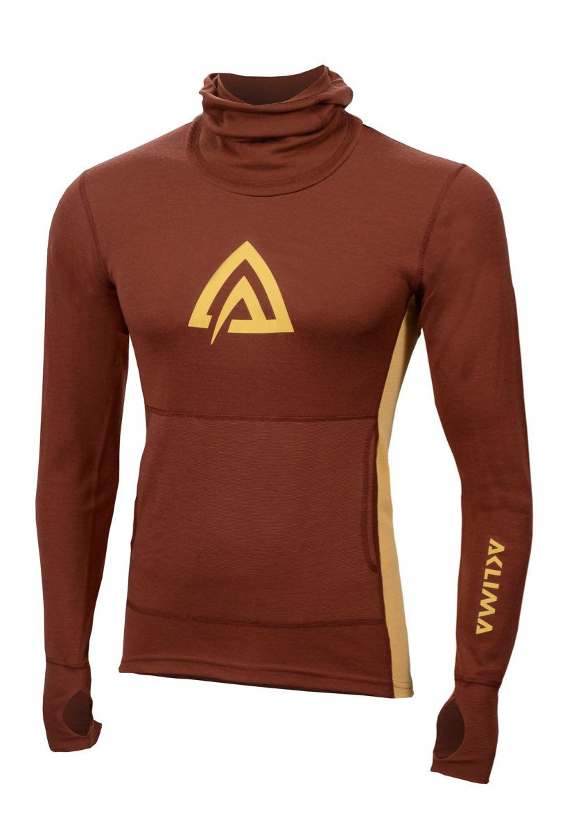 424156e8 ... Aclima Warmwool Hood Sweater Man Madder Brown/Golden Apricot ...