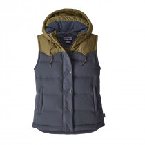 Patagonia Women's Bivy Hooded Vest Smolder Blue W/Fatigue Green