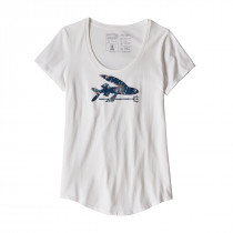 Patagonia W Flying Fish Organic Scoop T-Shirt White W/Solar Paradise