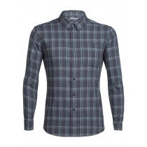 Icebreaker Mens Compass Flannel LS Shirt Monsoon/Vapour/Plaid