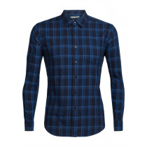 Icebreaker Mens Compass Flannel LS Shirt Midnight Navy/Sea Blue/Plaid