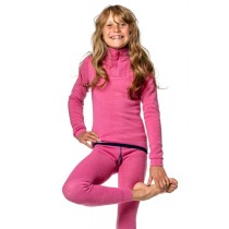 Woolpower Kids Zip Turtleneck Sea Star Rose