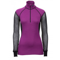 Brynje Lady Wool Thermo Zip Polo Black/Violet