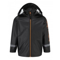 Kozi Kidz Rain Jacket Unlined Black/Orange