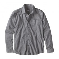 Patagonia Men's L/S Fezzman Shirt - Slim Fit Diamond Dobby: Navy Blue