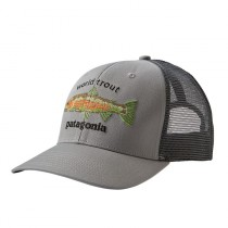 Patagonia World Trout Fishstitch Trucker Hat Drifter Grey